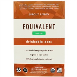 Sprout Living, Equivalent, Питьевые овсяные хлопья, Мокко, 8 пакетов, 1,7 унции (48,5 г) каждый