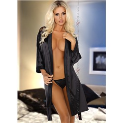 Пеньюар + стринги (комплект) Beauty Night Alexandra dressing gown | Black (Черный)